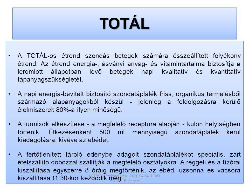 TOTÁLTOTÁL •A TOTÁL-os étrend szondás betegek számára összeállított folyékony étrend. Az étrend energia-, ásványi anyag- és vitamintartalma biztosítja