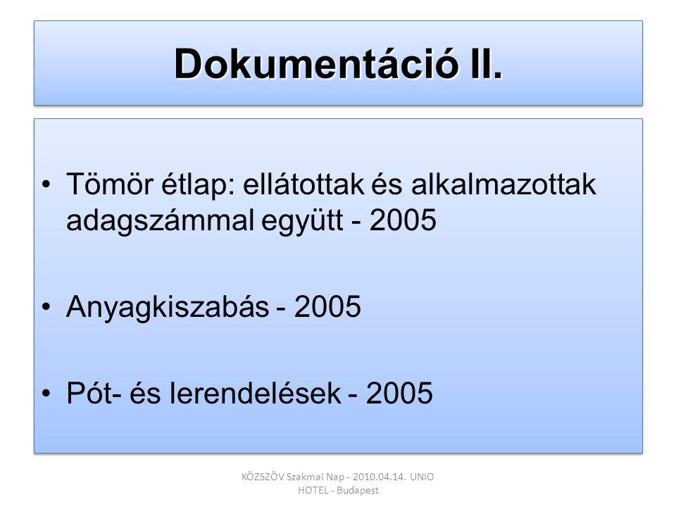 Dokumentáció II. •Tömör étlap: ellátottak és alkalmazottak adagszámmal együtt - 2005 •Anyagkiszabás - 2005 •Pót- és lerendelések - 2005 •Tömör étlap: