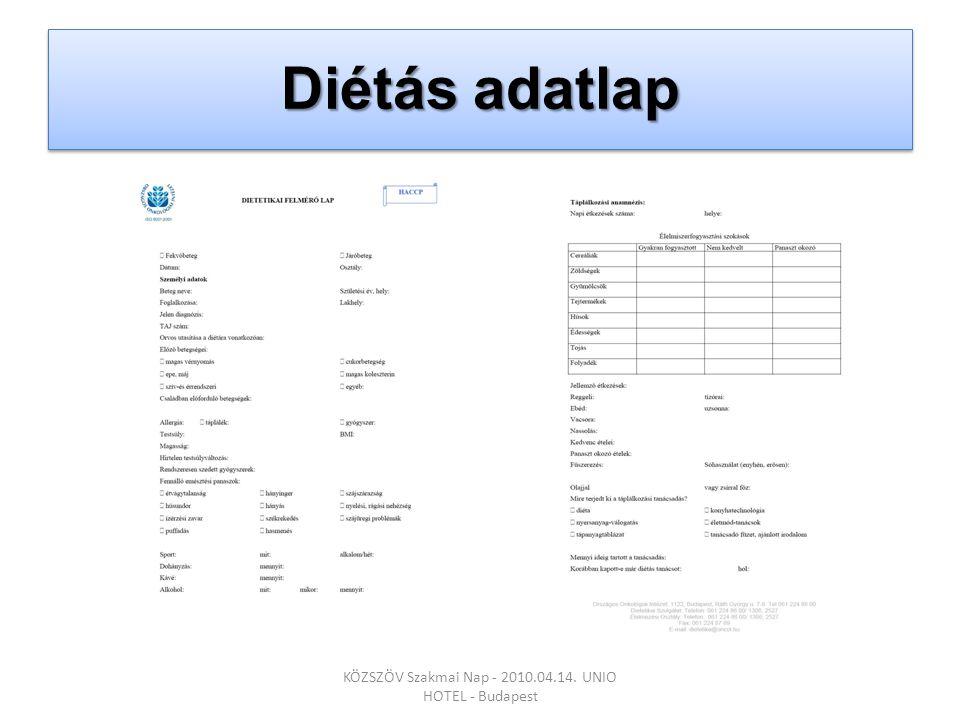 Diétás adatlap KÖZSZÖV Szakmai Nap - 2010.04.14. UNIO HOTEL - Budapest