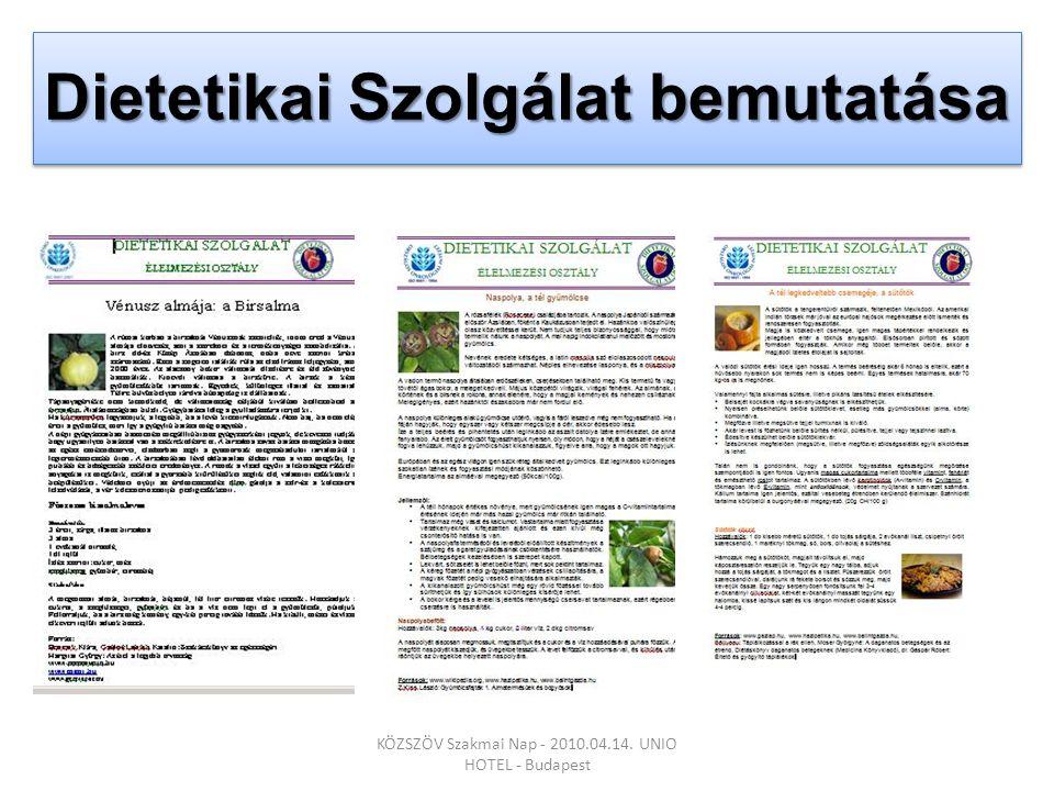 Dietetikai Szolgálat bemutatása KÖZSZÖV Szakmai Nap - 2010.04.14. UNIO HOTEL - Budapest