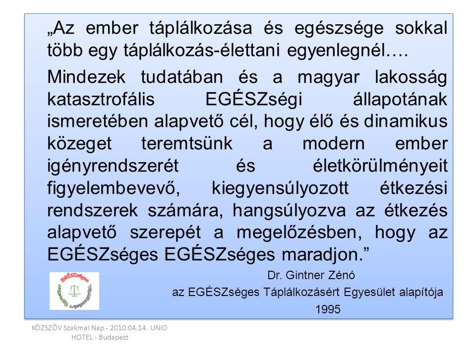 """""""Az ember táplálkozása és egészsége sokkal több egy táplálkozás-élettani egyenlegnél…. Mindezek tudatában és a magyar lakosság katasztrofális EGÉSZség"""