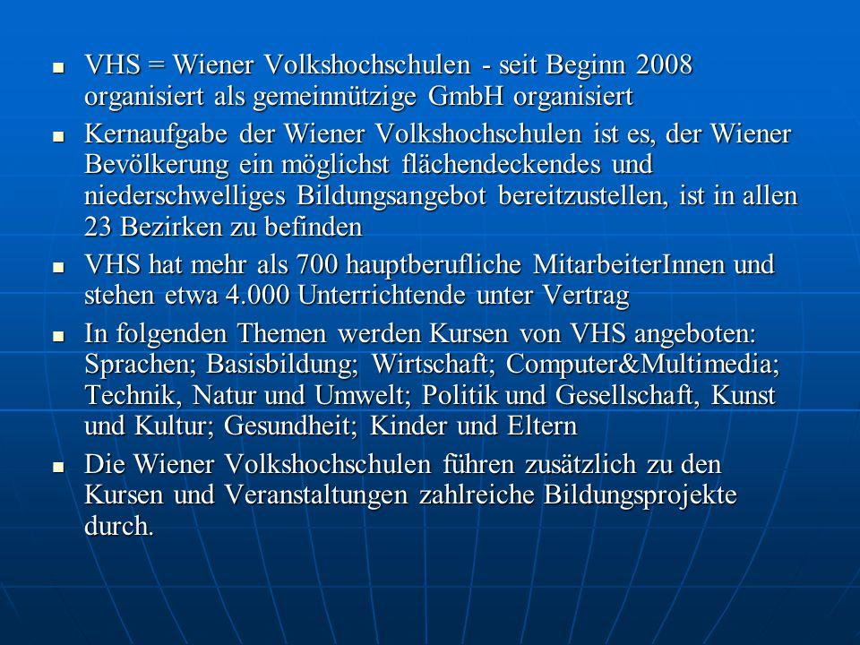  VHS = Wiener Volkshochschulen - seit Beginn 2008 organisiert als gemeinnützige GmbH organisiert  Kernaufgabe der Wiener Volkshochschulen ist es, der Wiener Bevölkerung ein möglichst flächendeckendes und niederschwelliges Bildungsangebot bereitzustellen, ist in allen 23 Bezirken zu befinden  VHS hat mehr als 700 hauptberufliche MitarbeiterInnen und stehen etwa 4.000 Unterrichtende unter Vertrag  In folgenden Themen werden Kursen von VHS angeboten: Sprachen; Basisbildung; Wirtschaft; Computer&Multimedia; Technik, Natur und Umwelt; Politik und Gesellschaft, Kunst und Kultur; Gesundheit; Kinder und Eltern  Die Wiener Volkshochschulen führen zusätzlich zu den Kursen und Veranstaltungen zahlreiche Bildungsprojekte durch.