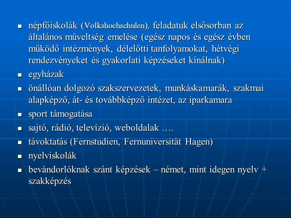  népfőiskolák ( Volkshochschulen), feladatuk elsősorban az általános műveltség emelése (egész napos és egész évben működő intézmények, délelőtti tanfolyamokat, hétvégi rendezvényeket és gyakorlati képzéseket kínálnak)  egyházak  önállóan dolgozó szakszervezetek, munkáskamarák, szakmai alapképző, át- és továbbképző intézet, az iparkamara  sport támogatása  sajtó, rádió, televízió, weboldalak ….