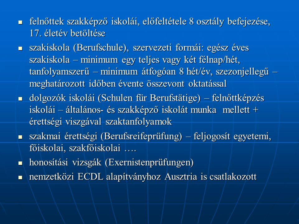  felnőttek szakképző iskolái, előfeltétele 8 osztály befejezése, 17. életév betöltése  szakiskola (Berufschule), szervezeti formái: egész éves szaki