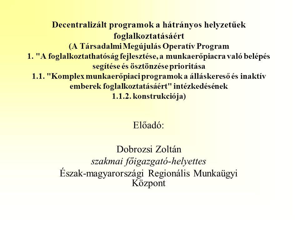 Az Észak-magyarországi Regionális Munkaügyi Központ programja A program célja, hogy: •közelítse egymáshoz a régió térségeinek munkáltatói igényeit, illetve a munkaerő-kínálatot, •az alacsony iskolai végzettségű, illetve nem piacképes szakmával rendelkezőket megpróbálja a munkapiac elvárásainak megfelelő szintre hozni, s ez által hosszú távon visszasegíteni őket az elsődleges munkaerőpiacra •az életkoruk miatt kiszorult idősebb álláskeresők, valamint a gyermeknevelés, ápolás miatt távol lévő nők számára lehetőséget teremtsen a munkaerőpiacra történő visszatérésre, •a munkatapasztalattal nem rendelkező fiatalok számára lehetőséget biztosítson a megfelelő munkahely megtalálására.