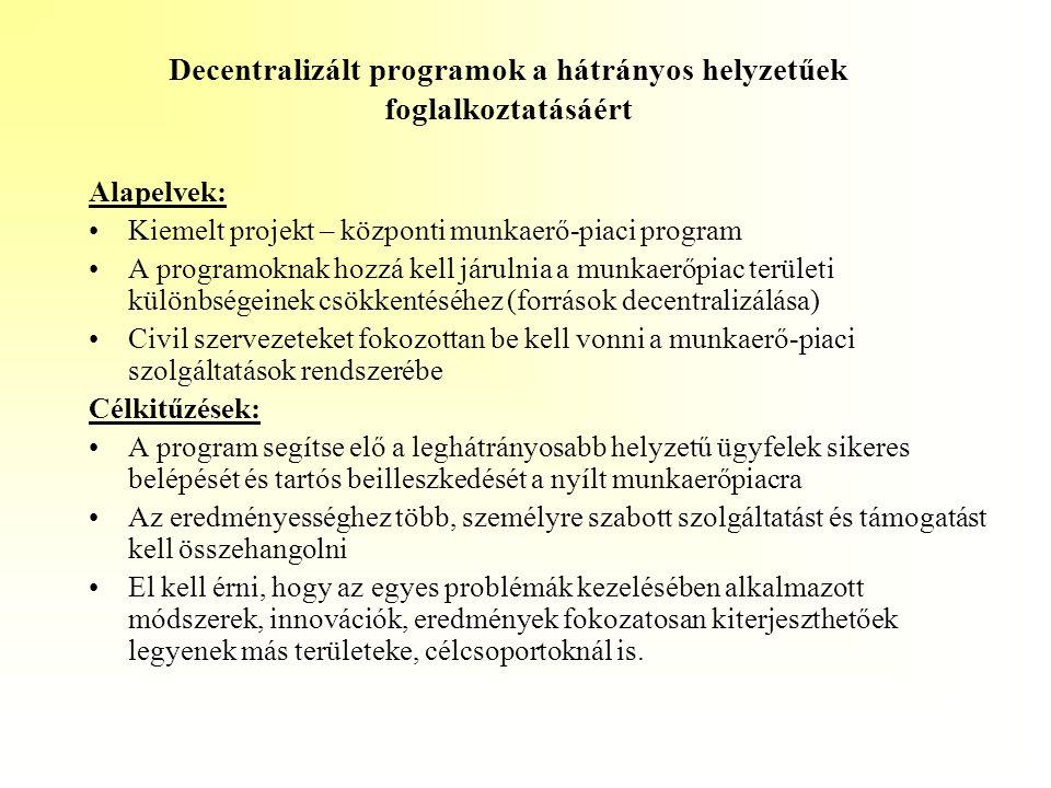 Decentralizált programok a hátrányos helyzetűek foglalkoztatásáért Alapelvek: •Kiemelt projekt – központi munkaerő-piaci program •A programoknak hozzá