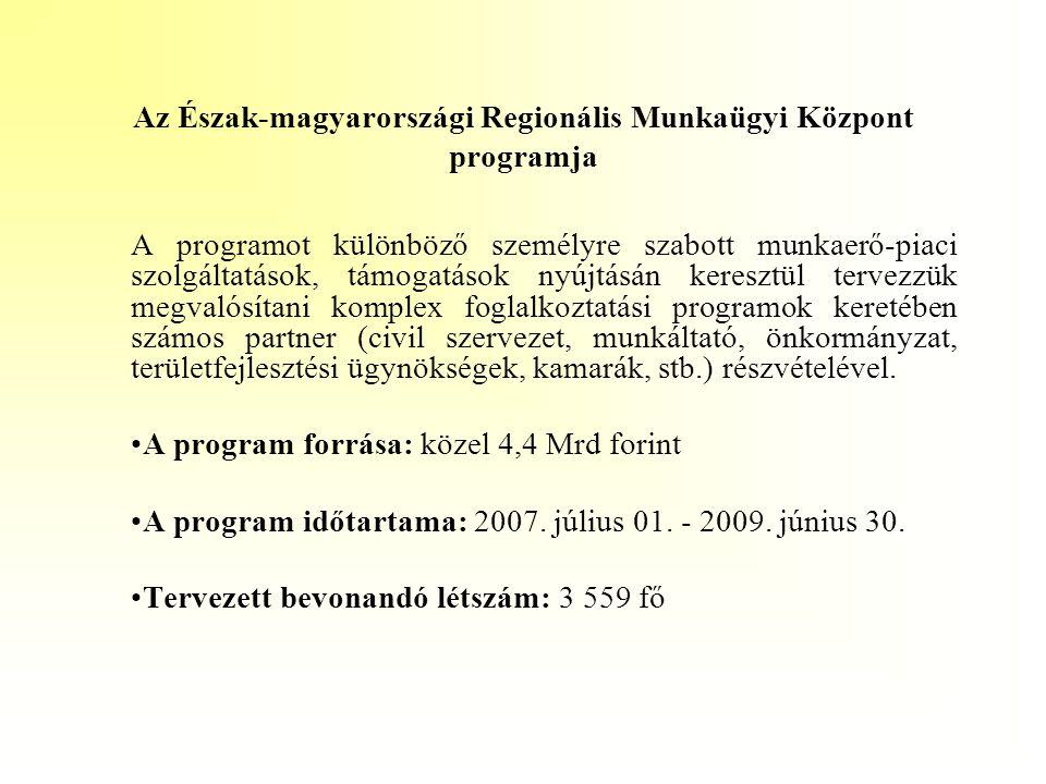 Az Észak-magyarországi Regionális Munkaügyi Központ programja A programot különböző személyre szabott munkaerő-piaci szolgáltatások, támogatások nyújt