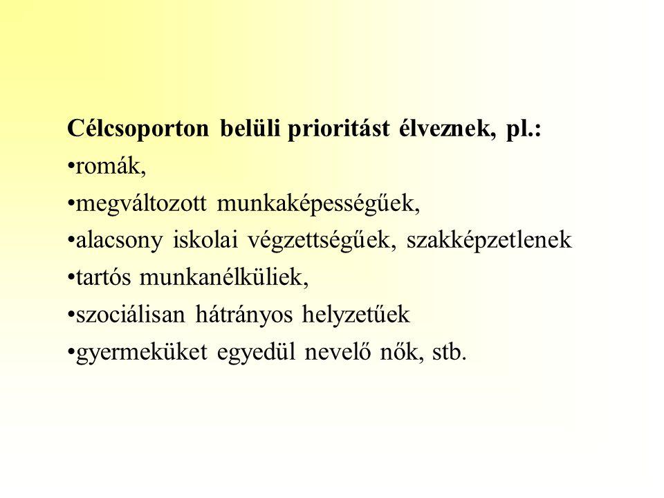 Célcsoporton belüli prioritást élveznek, pl.: •romák, •megváltozott munkaképességűek, •alacsony iskolai végzettségűek, szakképzetlenek •tartós munkané