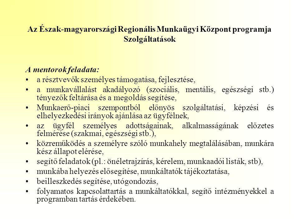 Az Észak-magyarországi Regionális Munkaügyi Központ programja Szolgáltatások A mentorok feladata: •a résztvevők személyes támogatása, fejlesztése, •a