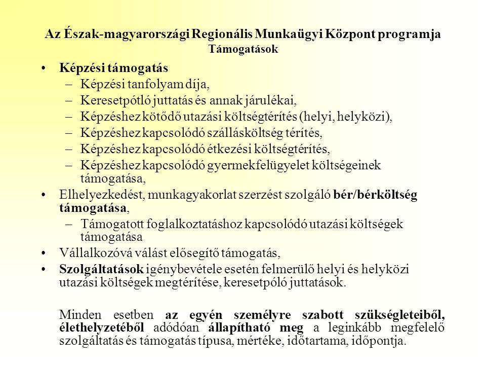 Az Észak-magyarországi Regionális Munkaügyi Központ programja Támogatások •Képzési támogatás –Képzési tanfolyam díja, –Keresetpótló juttatás és annak