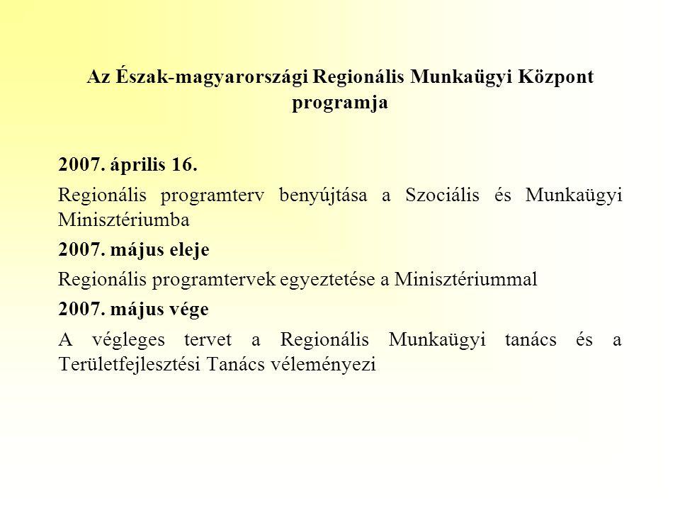 Az Észak-magyarországi Regionális Munkaügyi Központ programja 2007. április 16. Regionális programterv benyújtása a Szociális és Munkaügyi Minisztériu