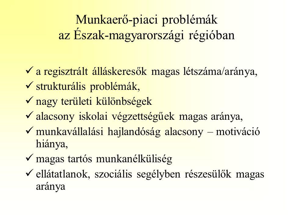 Munkaerő-piaci problémák az Észak-magyarországi régióban  a regisztrált álláskeresők magas létszáma/aránya,  strukturális problémák,  nagy területi