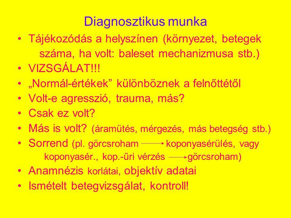 Diagnosztikus munka •Tájékozódás a helyszínen (környezet, betegek száma, ha volt: baleset mechanizmusa stb.) •VIZSGÁLAT!!.