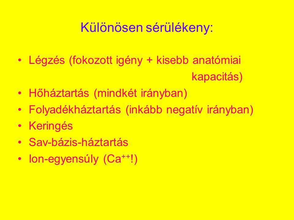 Különösen sérülékeny: •Légzés (fokozott igény + kisebb anatómiai kapacitás) •Hőháztartás (mindkét irányban) •Folyadékháztartás (inkább negatív irányban) •Keringés •Sav-bázis-háztartás •Ion-egyensúly (Ca ++ !)
