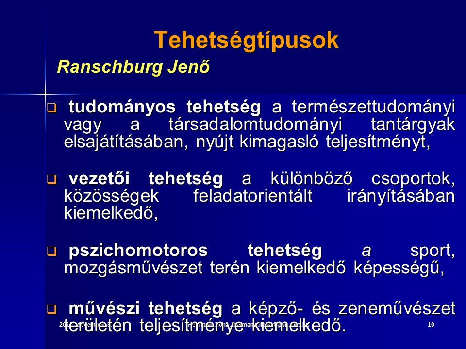 2010. december 8.Heimann Ilona. heimann.ilona@ppk.elte.hu10 Tehetségtípusok Ranschburg Jenő Ranschburg Jenő  tudományos tehetség a természettudományi