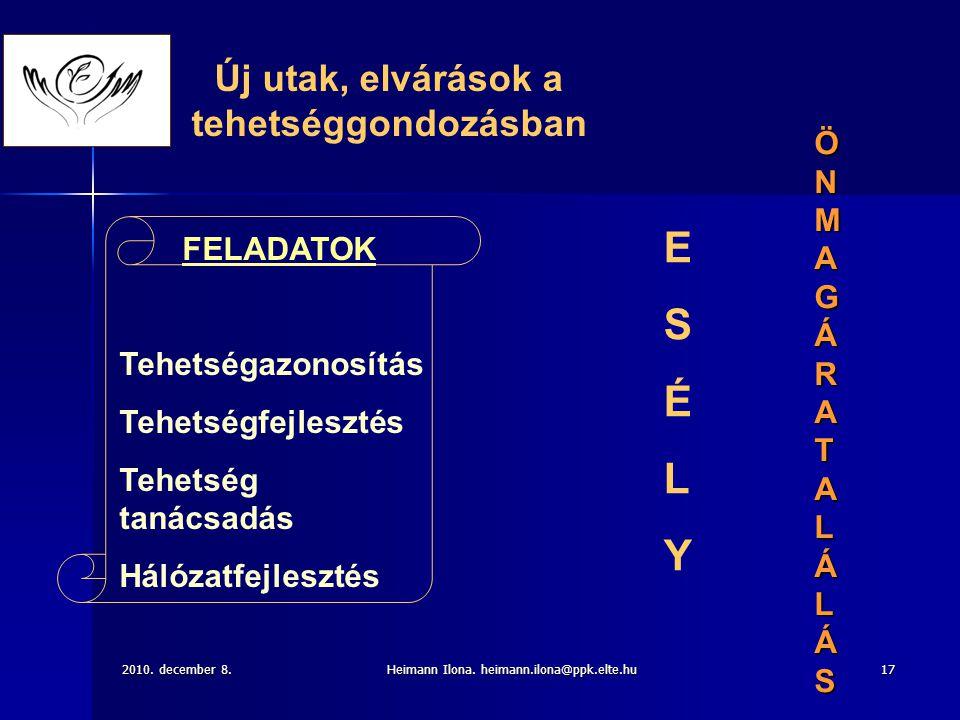 2010. december 8.Heimann Ilona. heimann.ilona@ppk.elte.hu17 FELADATOK Tehetségazonosítás Tehetségfejlesztés Tehetség tanácsadás Hálózatfejlesztés Új u