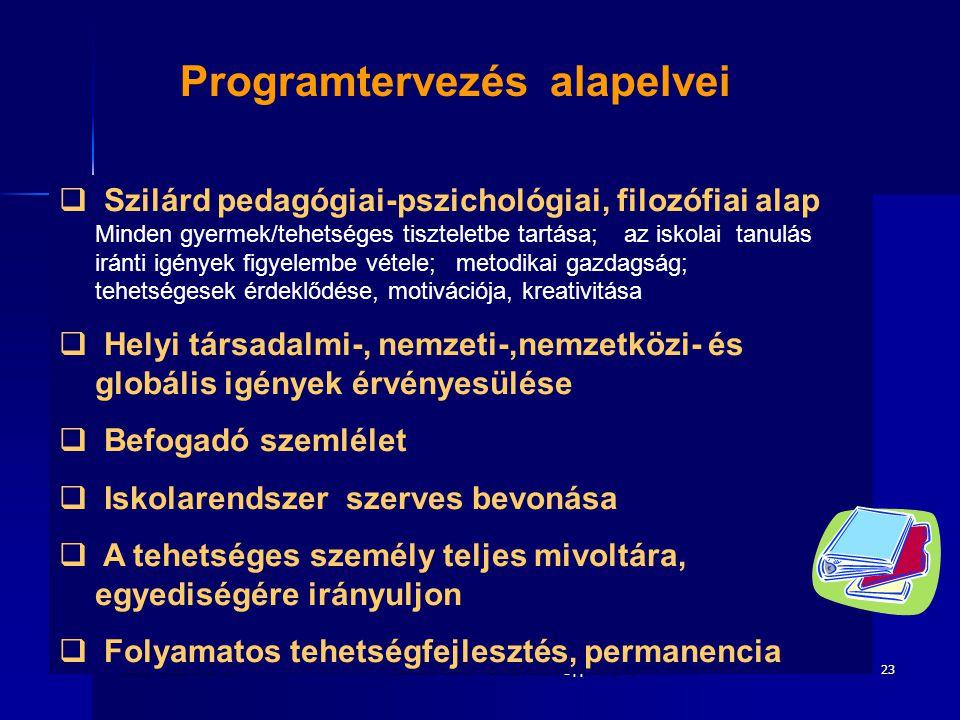 2010. december 8.Heimann Ilona. heimann.ilona@ppk.elte.hu23 Programtervezés alapelvei  Szilárd pedagógiai-pszichológiai, filozófiai alap Minden gyerm