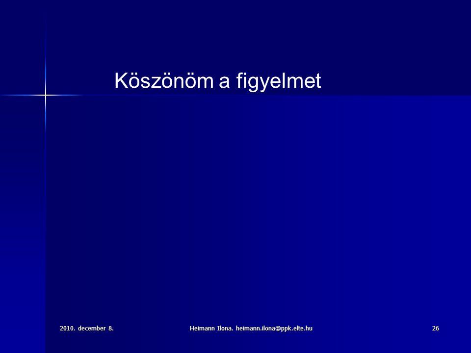 2010. december 8.Heimann Ilona. heimann.ilona@ppk.elte.hu26 Köszönöm a figyelmet