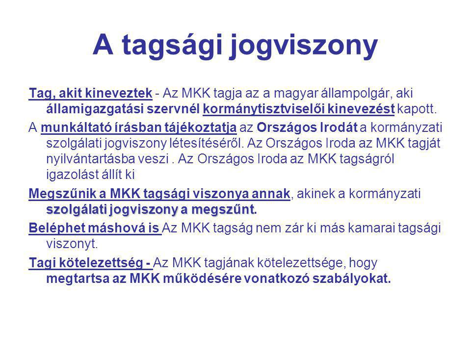A tagsági jogviszony Tag, akit kineveztek - Az MKK tagja az a magyar állampolgár, aki államigazgatási szervnél kormánytisztviselői kinevezést kapott.