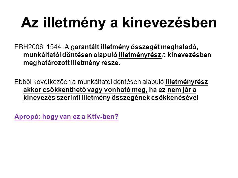 Az illetmény a kinevezésben EBH2006.1544.
