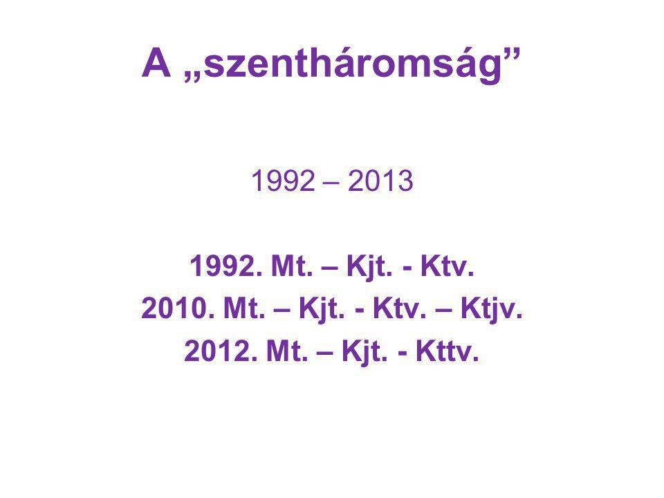 """A """"szentháromság 1992 – 2013 1992.Mt. – Kjt. - Ktv."""