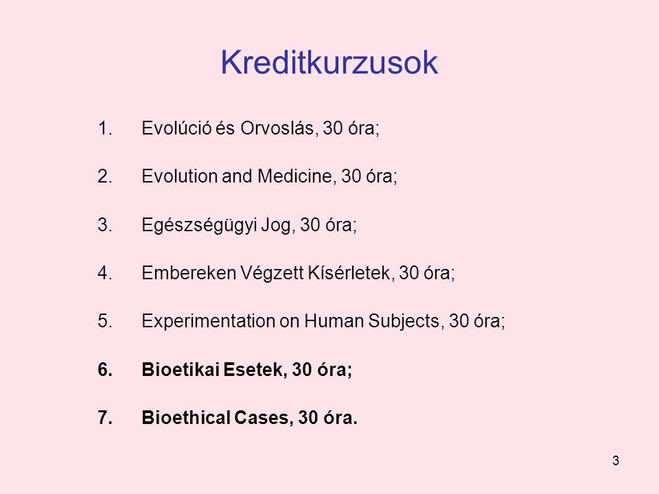 3 Kreditkurzusok 1.Evolúció és Orvoslás, 30 óra; 2.Evolution and Medicine, 30 óra; 3.Egészségügyi Jog, 30 óra; 4.Embereken Végzett Kísérletek, 30 óra;
