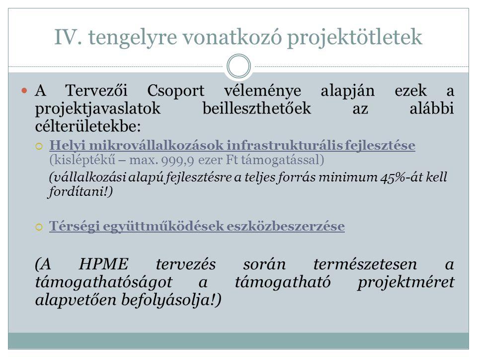 IV. tengelyre vonatkozó projektötletek  A Tervezői Csoport véleménye alapján ezek a projektjavaslatok beilleszthetőek az alábbi célterületekbe:  Hel
