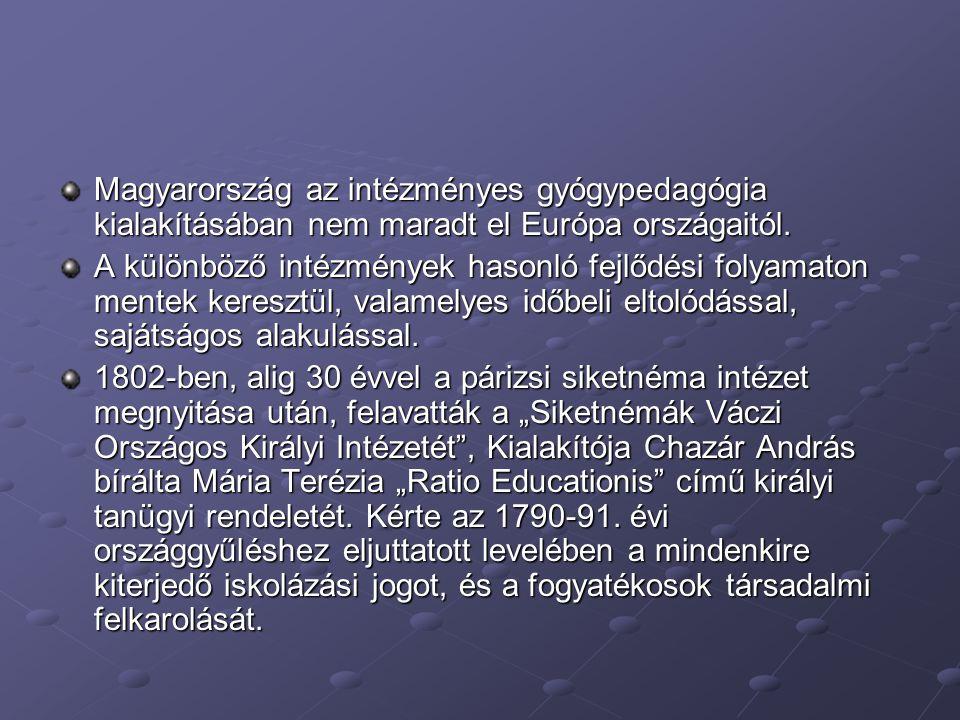 Magyarország az intézményes gyógypedagógia kialakításában nem maradt el Európa országaitól. A különböző intézmények hasonló fejlődési folyamaton mente