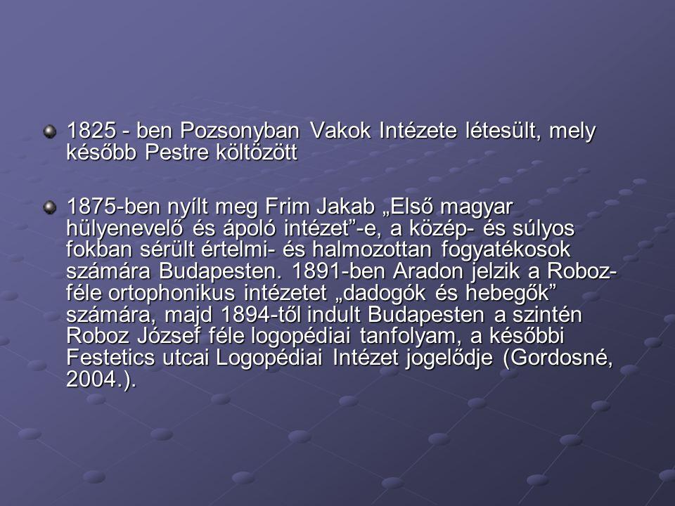 """1825 - ben Pozsonyban Vakok Intézete létesült, mely később Pestre költözött 1875-ben nyílt meg Frim Jakab """"Első magyar hülyenevelő és ápoló intézet""""-e"""