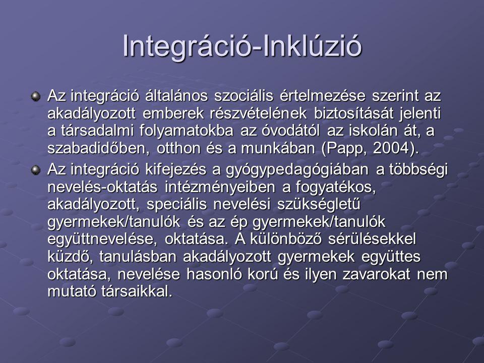 Integráció-Inklúzió Az integráció általános szociális értelmezése szerint az akadályozott emberek részvételének biztosítását jelenti a társadalmi foly