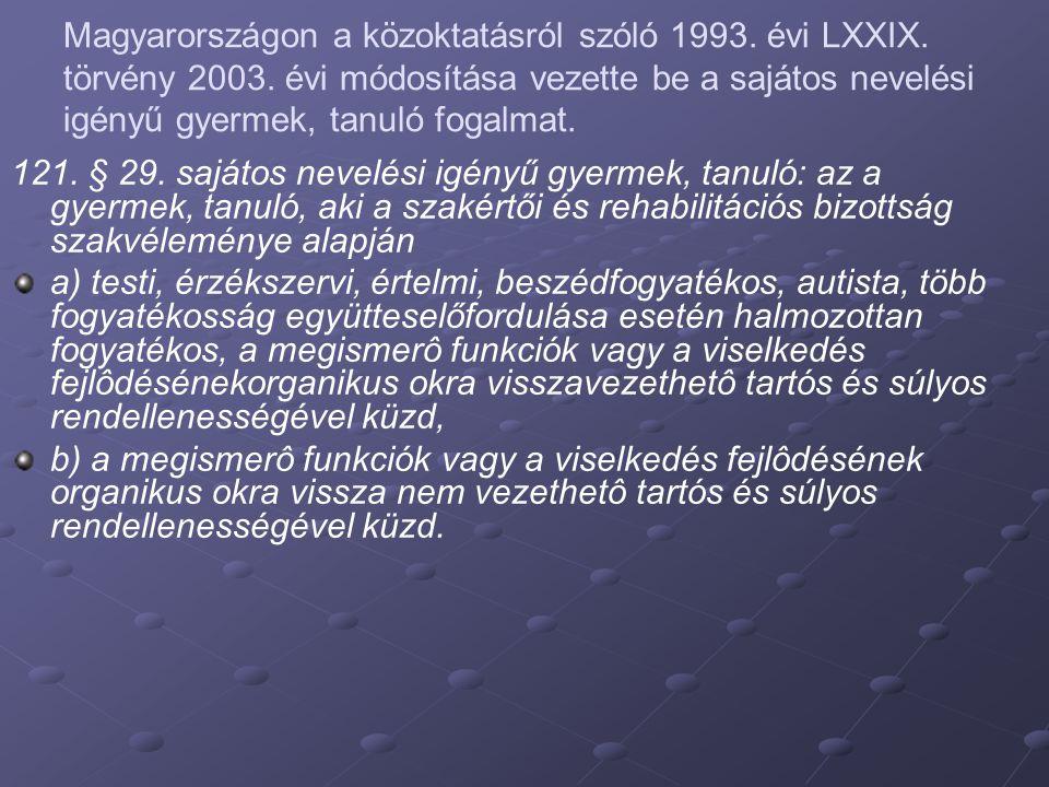 Magyarországon a közoktatásról szóló 1993. évi LXXIX. törvény 2003. évi módosítása vezette be a sajátos nevelési igényű gyermek, tanuló fogalmat. 121.