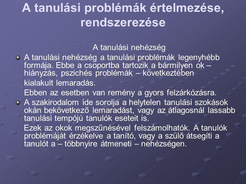 A tanulási problémák értelmezése, rendszerezése A tanulási nehézség A tanulási nehézség a tanulási problémák legenyhébb formája. Ebbe a csoportba tart