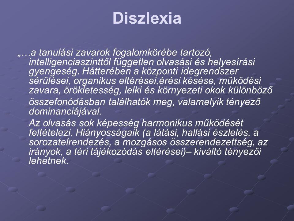 """Diszlexia """"…a tanulási zavarok fogalomkörébe tartozó, intelligenciaszinttől független olvasási és helyesírási gyengeség. Hátterében a központi idegren"""