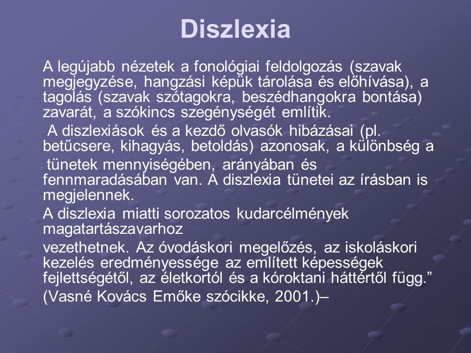 Diszlexia A legújabb nézetek a fonológiai feldolgozás (szavak megjegyzése, hangzási képük tárolása és előhívása), a tagolás (szavak szótagokra, beszéd