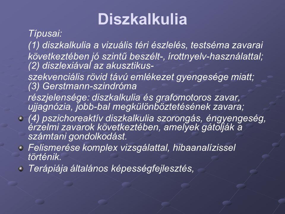 Diszkalkulia Típusai: (1) diszkalkulia a vizuális téri észlelés, testséma zavarai következtében jó szintű beszélt-, írottnyelv-használattal; (2) diszl
