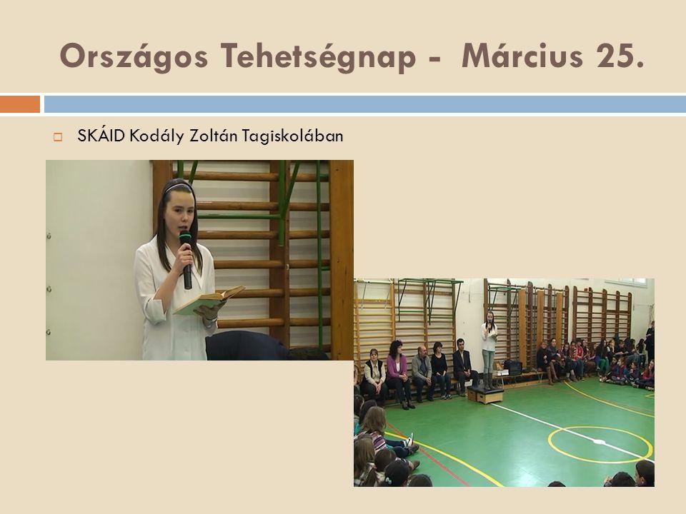 Országos Tehetségnap - Március 25.  SKÁID Kodály Zoltán Tagiskolában