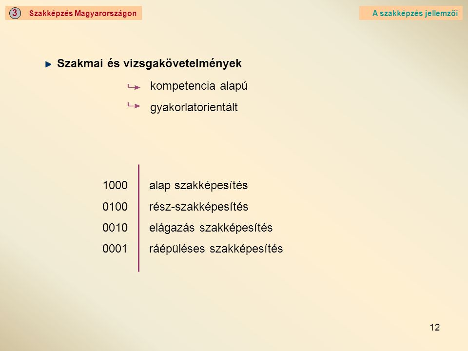 12 Szakképzés Magyarországon 3 A szakképzés jellemzői Szakmai és vizsgakövetelmények kompetencia alapú gyakorlatorientált 1000alap szakképesítés 0100r