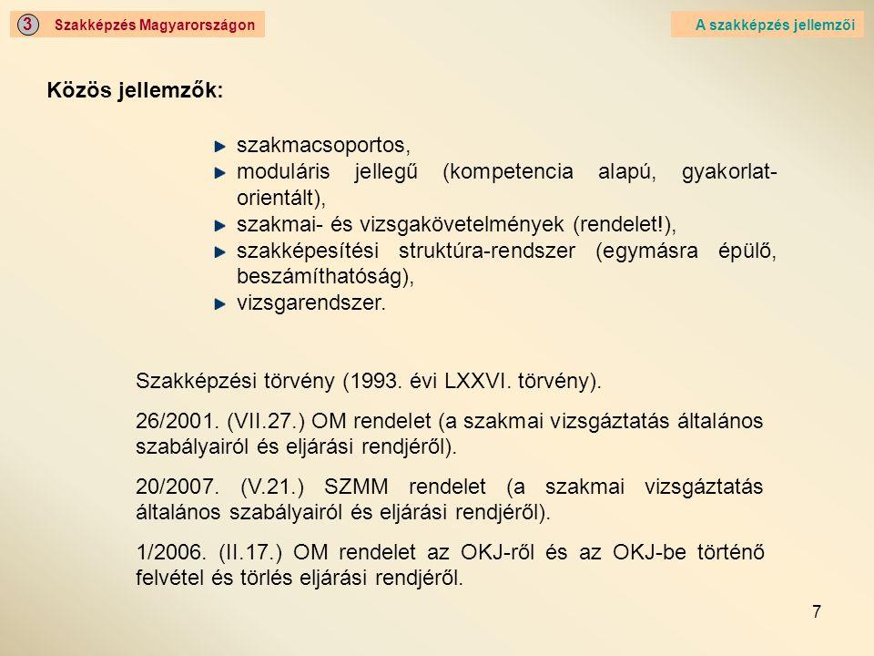 7 Szakképzés Magyarországon 3 Közös jellemzők: A szakképzés jellemzői szakmacsoportos, moduláris jellegű (kompetencia alapú, gyakorlat- orientált), sz