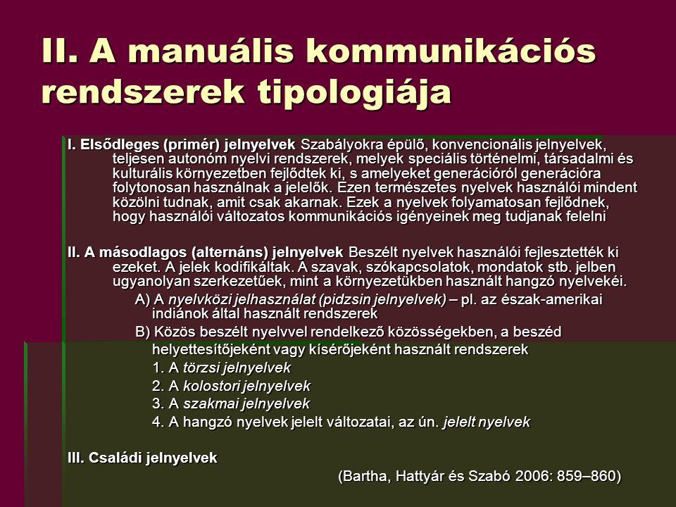 II. A manuális kommunikációs rendszerek tipologiája I. Elsődleges (primér) jelnyelvek Szabályokra épülő, konvencionális jelnyelvek, teljesen autonóm n
