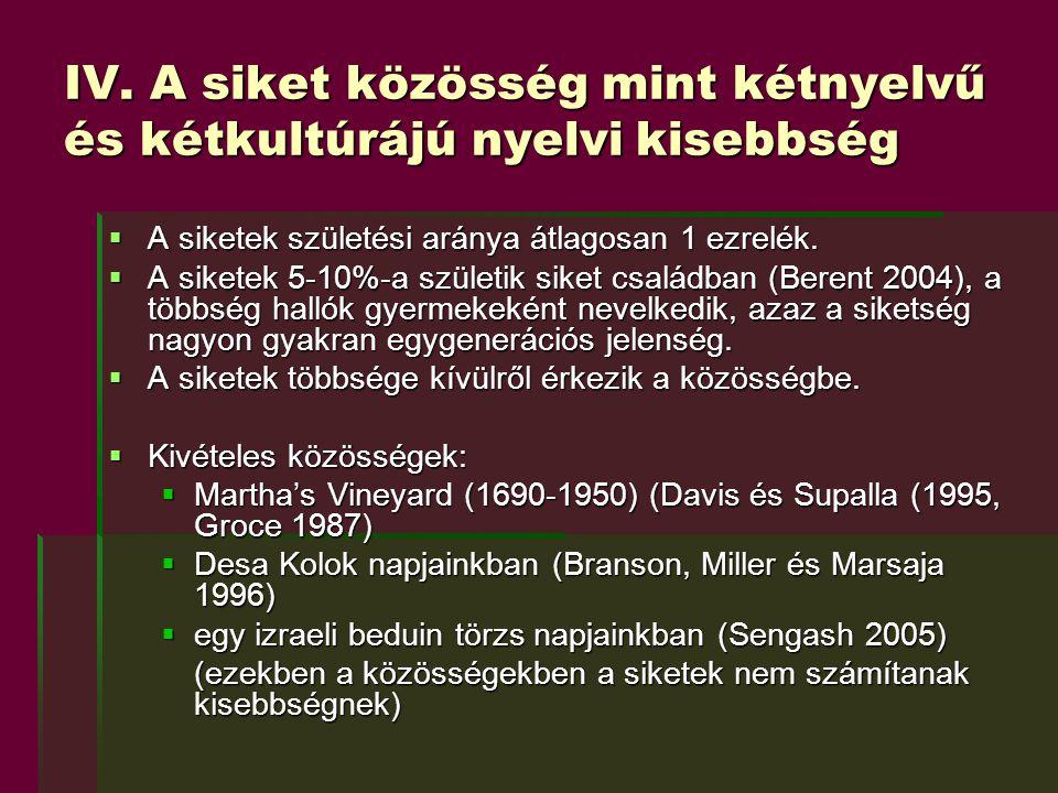 IV. A siket közösség mint kétnyelvű és kétkultúrájú nyelvi kisebbség  A siketek születési aránya átlagosan 1 ezrelék.  A siketek 5-10%-a születik si