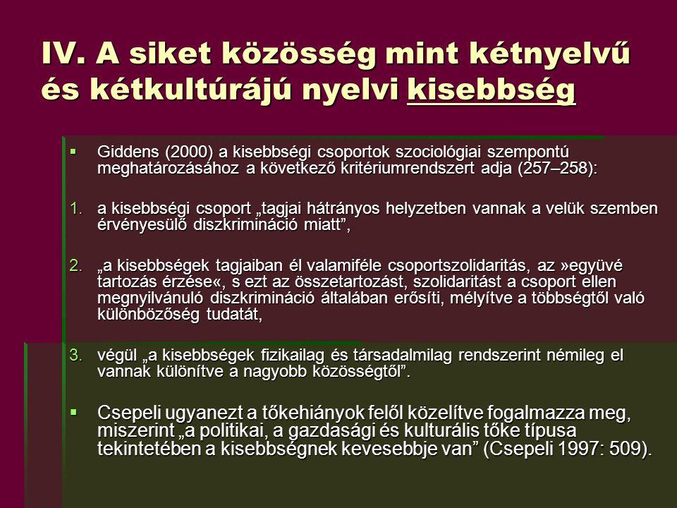 IV. A siket közösség mint kétnyelvű és kétkultúrájú nyelvi kisebbség  Giddens (2000) a kisebbségi csoportok szociológiai szempontú meghatározásához a