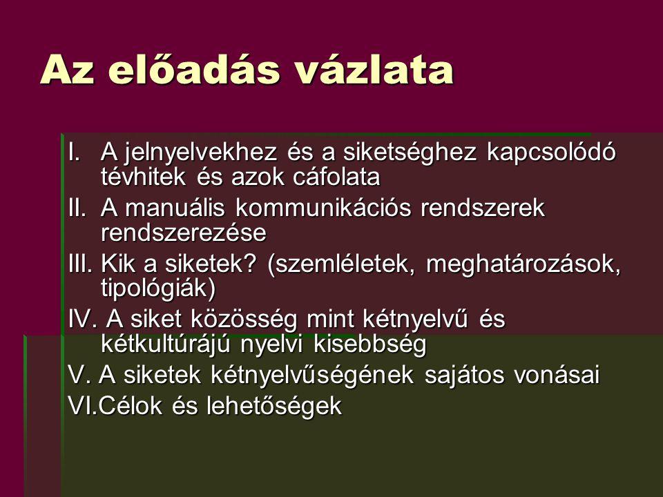 V.A siketek kétnyelvűségének sajátos vonásai  A magyarországi jelnyelv a 19.