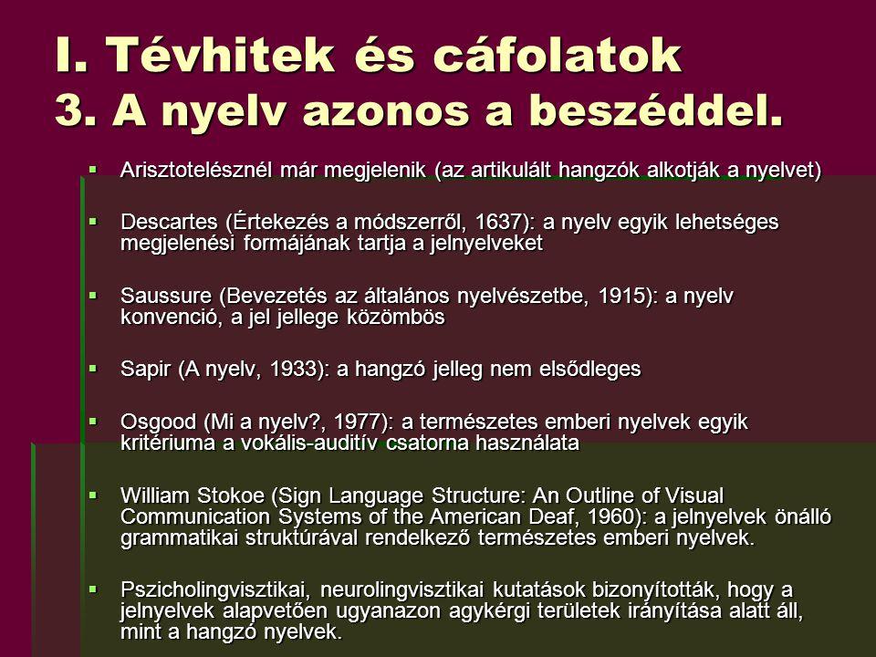 I. Tévhitek és cáfolatok 3. A nyelv azonos a beszéddel.  Arisztotelésznél már megjelenik (az artikulált hangzók alkotják a nyelvet)  Descartes (Érte
