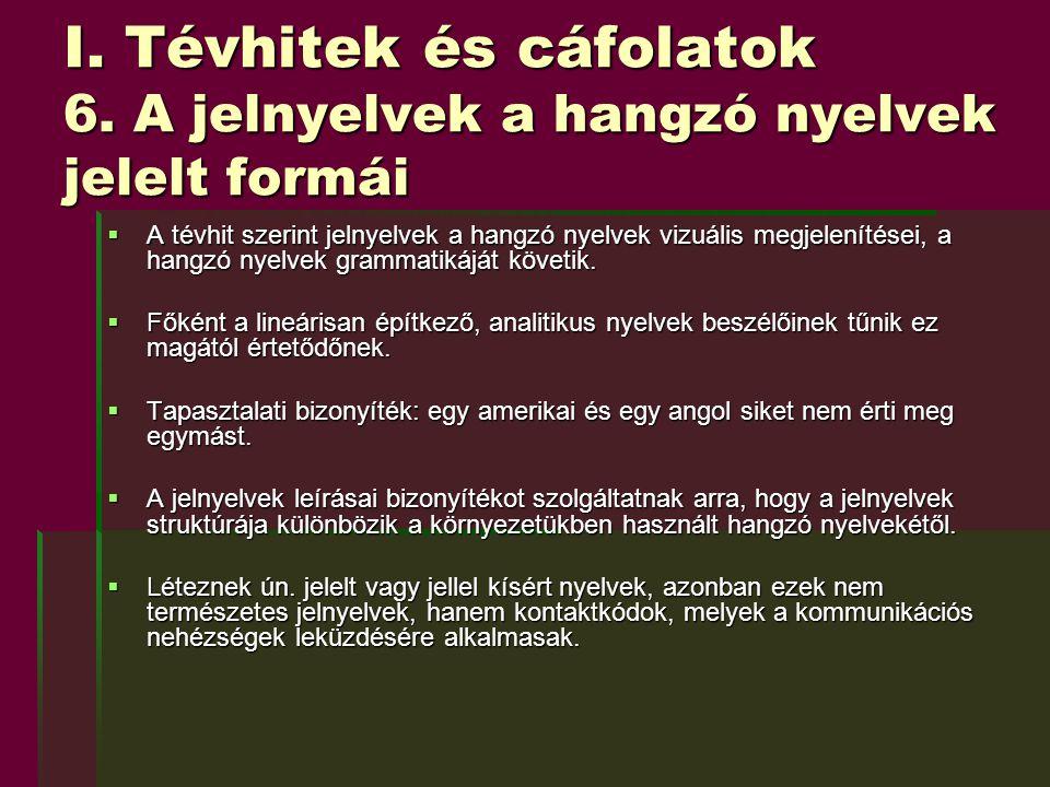 I. Tévhitek és cáfolatok 6. A jelnyelvek a hangzó nyelvek jelelt formái  A tévhit szerint jelnyelvek a hangzó nyelvek vizuális megjelenítései, a hang