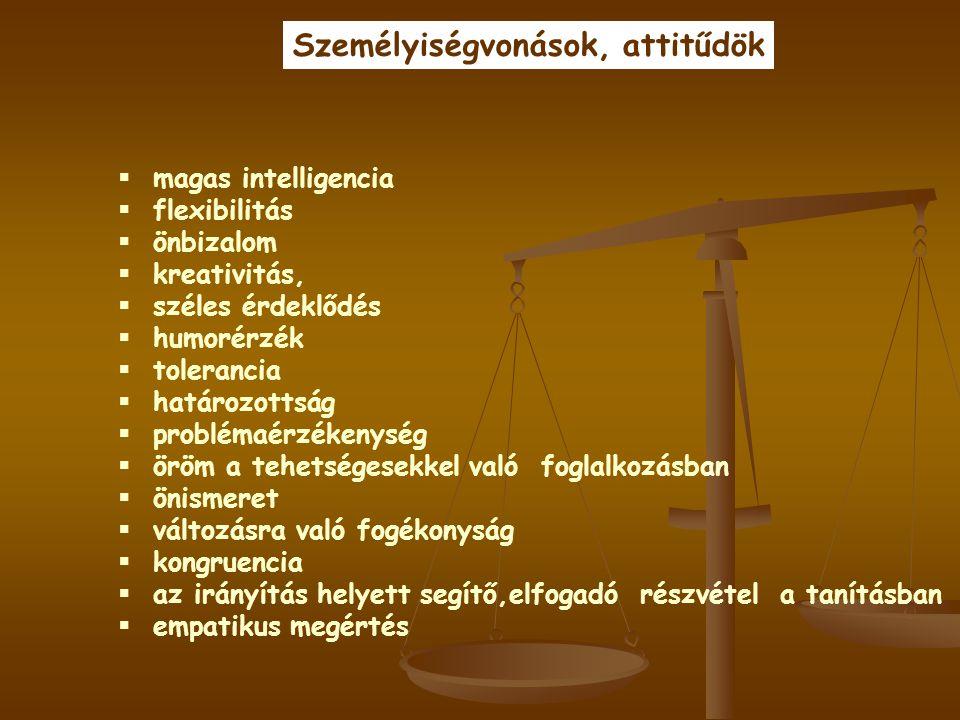  magas intelligencia  flexibilitás  önbizalom  kreativitás,  széles érdeklődés  humorérzék  tolerancia  határozottság  problémaérzékenység 