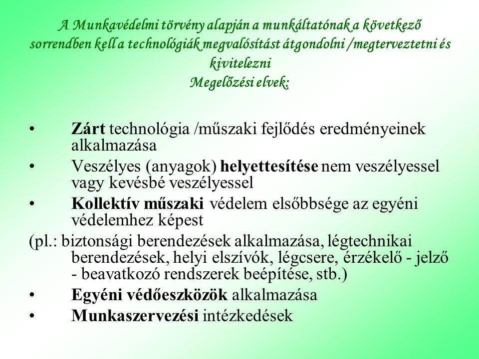 A Munkavédelmi törvény alapján a munkáltatónak a következő sorrendben kell a technológiák megvalósítást átgondolni /megterveztetni és kivitelezni Mege