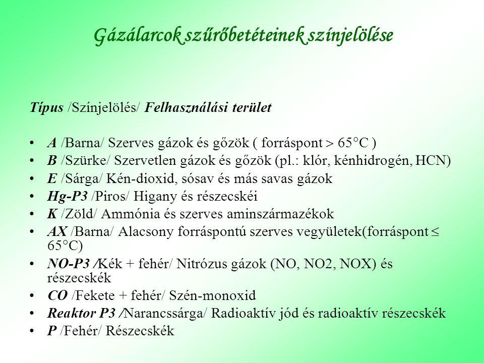 Gázálarcok szűrőbetéteinek színjelölése Típus /Színjelölés/ Felhasználási terület •A /Barna/ Szerves gázok és gőzök ( forráspont  65  C ) •B /Szürke
