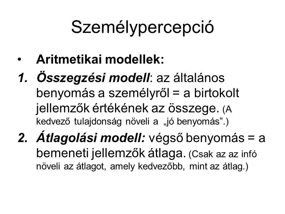 Személypercepció •Aritmetikai modellek: 1.Összegzési modell: az általános benyomás a személyről = a birtokolt jellemzők értékének az összege. (A kedve