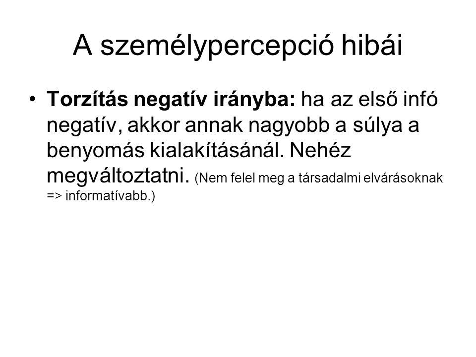 A személypercepció hibái •Torzítás negatív irányba: ha az első infó negatív, akkor annak nagyobb a súlya a benyomás kialakításánál. Nehéz megváltoztat