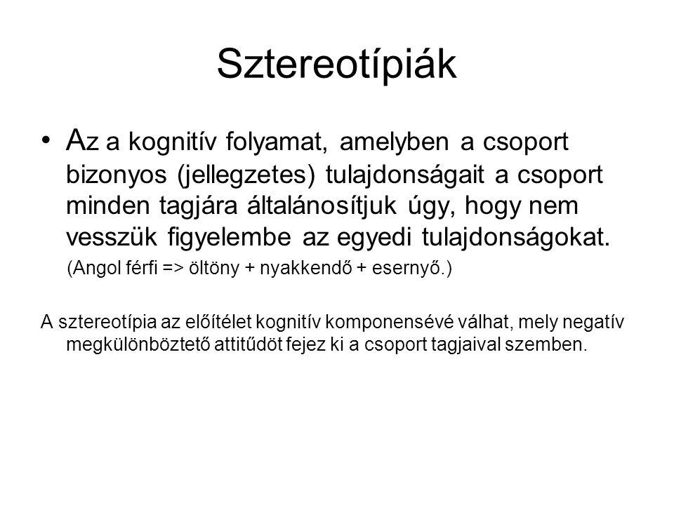 Sztereotípiák •A z a kognitív folyamat, amelyben a csoport bizonyos (jellegzetes) tulajdonságait a csoport minden tagjára általánosítjuk úgy, hogy nem